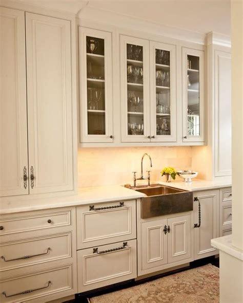 white kitchen cabinets  copper hardware design ideas