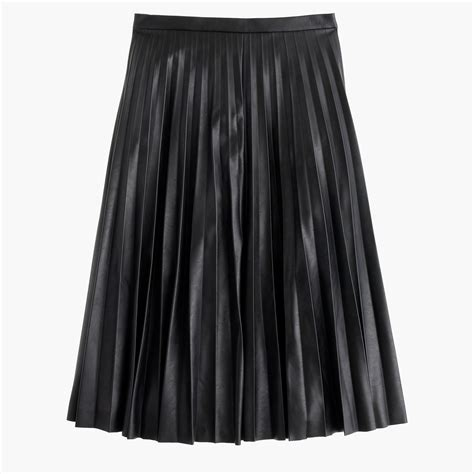 faux leather pleated midi skirt s skirts j crew