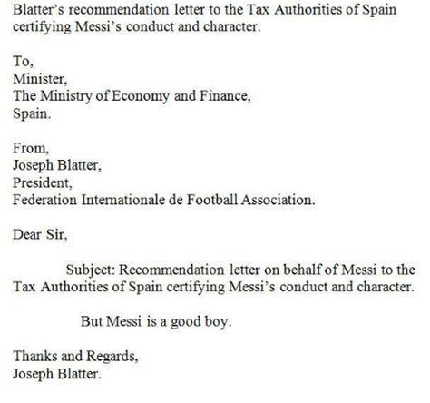 Recommendation Letter On Behalf Of blatter s recommendation letter to the tax authorities of
