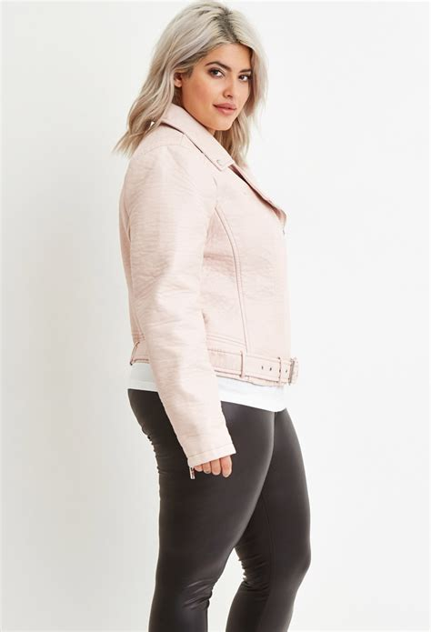 light pink plus size blazer lyst forever 21 plus size faux leather moto jacket in pink