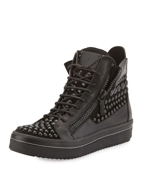 mens high top black sneakers lyst giuseppe zanotti s beaded leather high top