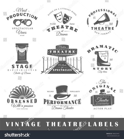 design elements in theatre set theatre labels elements design on stock vector