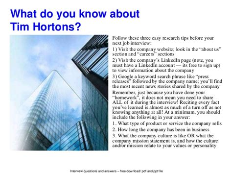 tim hortons questions and answers