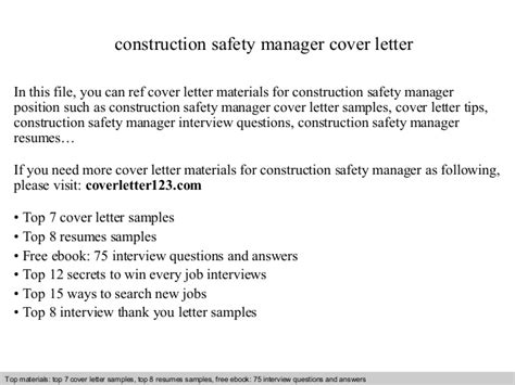 Construction Safety Manager Cover Letter by Construction Safety Manager Cover Letter
