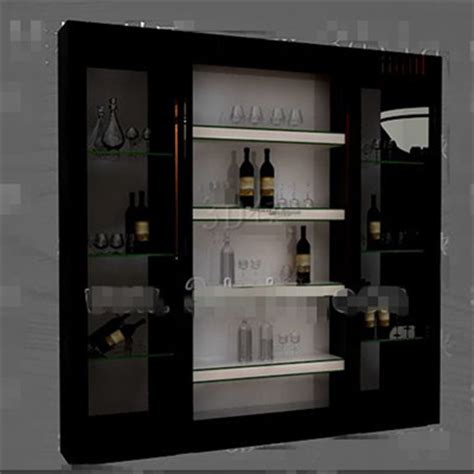 Wine Glass Cabinets Furniture by Black Glass Doors Wine Cabinet 3d Model Free 3d