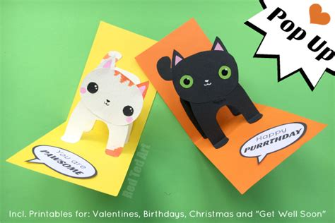 make pop up card template 3d cat card diy ted s