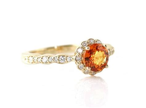 orange sapphire ring sapphire engagement ring 14k or 18k