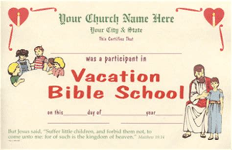 vbs certificate template vacationbibleschool