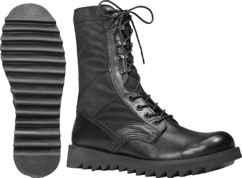 black ripple sole army leather jungle boots ebay