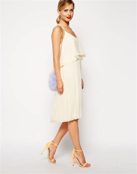 swing dress asos asos cami swing dress with pleated skirt in natural lyst