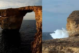 azure window before and after malta s iconic azure window seen in game of thrones crumbles into sea during heavy storms