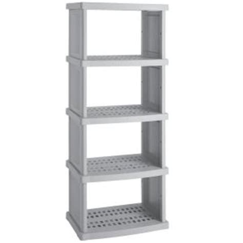 home depot storage shelves suncast 5 shelf 30 in w x 72 in h x 20 in d plastic shelving unit c7305g the home depot