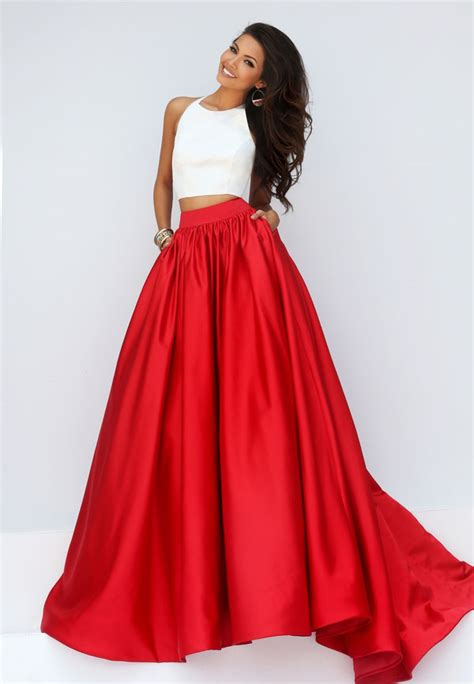 best dress white and satin crop top crew neck two prom