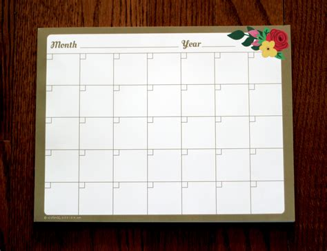 Calendar Notepad Design | flora monthly calendar notepad evince design