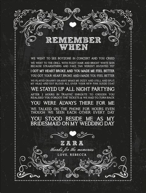 Beautiful Unique Personalised Memory Print, Remember When