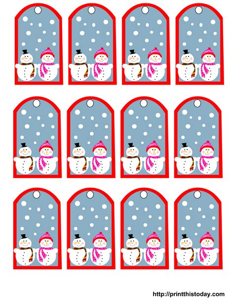 printable gift labels free free printable snowman christmas gift tags