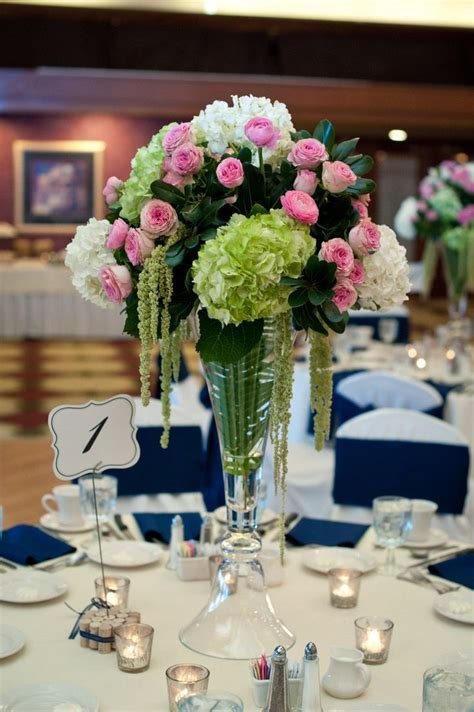 Tall Wedding Centerpieces, Green Hydrangea, Pink Garden
