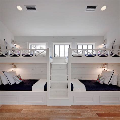 white built in bunk beds with navy bedding cottage boy