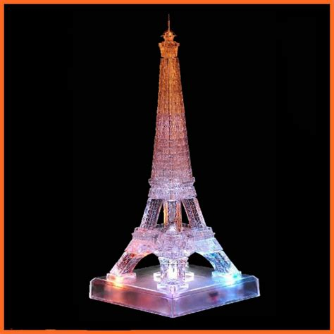 eiffel tower puzzle with lights flash 3d crystal puzzles with led lights wholesale