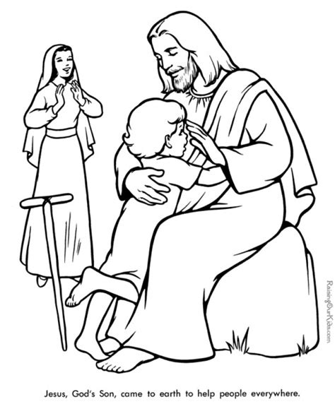 coloring pages jesus heals jesus with children printables