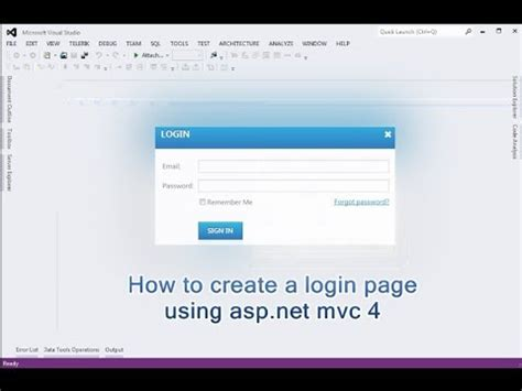 login page templates for asp net how to create a login page using asp net mvc 4 youtube