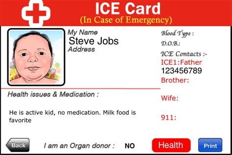 free in of emergency card template app shopper in of emergency
