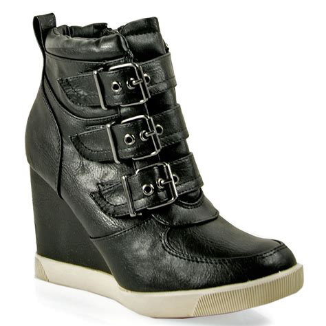 sneaker wedges steve madden steve madden latches leather wedge sneaker in black lyst