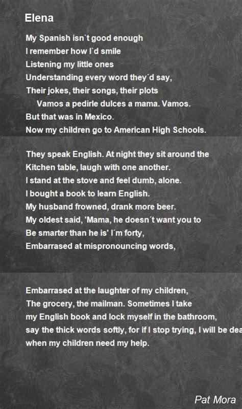 English Word For Bathroom Elena Poem By Pat Mora Poem Hunter