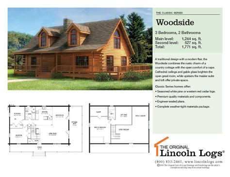 lincoln log homes floor plans log home floorplan woodside the original lincoln logs
