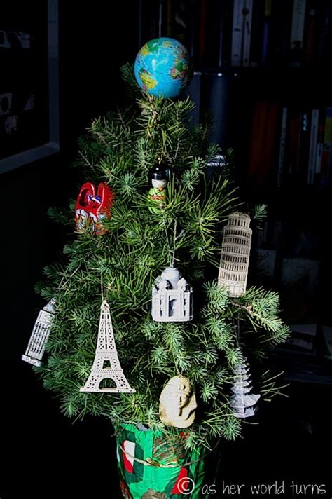 a travel inspired christmas tree as her world turns