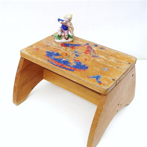 vintage childs step stool wooden bench rustic chair