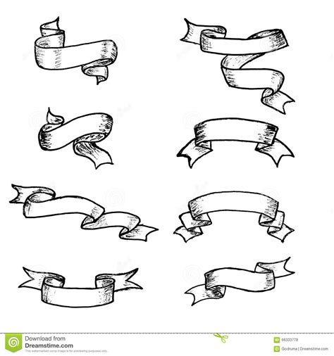 doodle ribbon vector free vector ribbons and banners chalk doodles