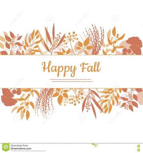 fall card template flat design style happy fall card template stock vector