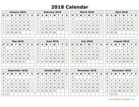 Calendar 2018 Printable Yearly 2018 Yearly Calendar Printable Calendar Template 2016