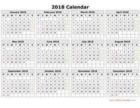 2018 Calendar Monday Through Sunday Printable 2018 Calendar