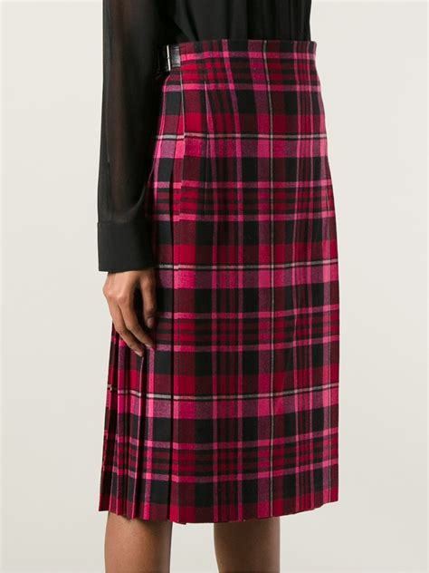 comme des gar 231 ons pleated tartan skirt in pink lyst