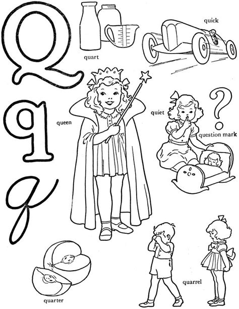 colors that start with k alphabet words coloring activity sheet letter q quart