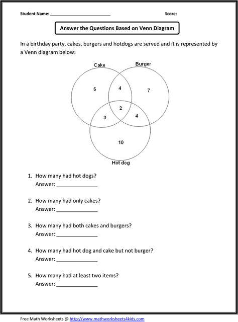 Common Math 5th Grade Worksheets by Venn Diagram Word Problems School Venn
