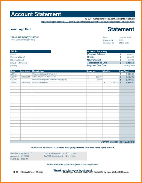 7 Free Statement Of Account Template Case Statement 2017 Statement Of Account Template