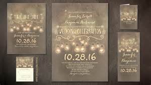 Read more romantic vintage rustic wedding invite with light bulbs