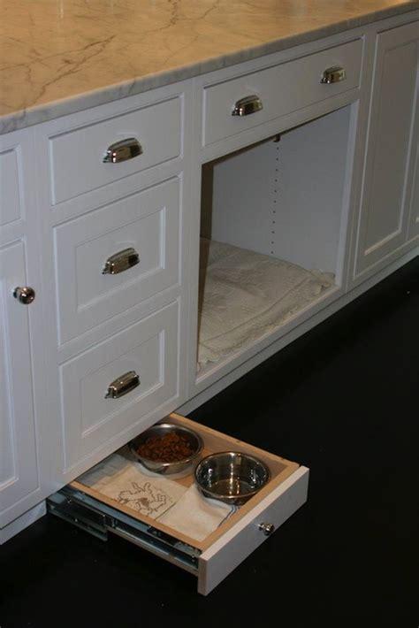 dog cabinet hidden pet food bowls traditional kitchen west end