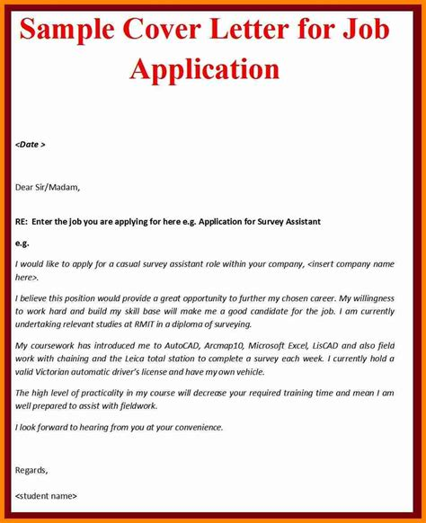 9 exle of covering letter for job application