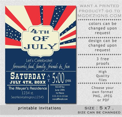 printable retro 4th of july party invitation templates