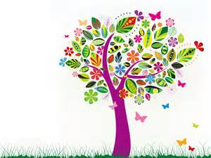 abstract tree with flower patterns template powerpoint