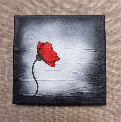 acrylic paint on black canvas poppy painting original poppy on a box canvas