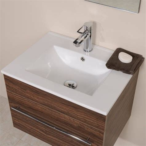 aspen 600 wall mounted walnut vanity unit small bathroom