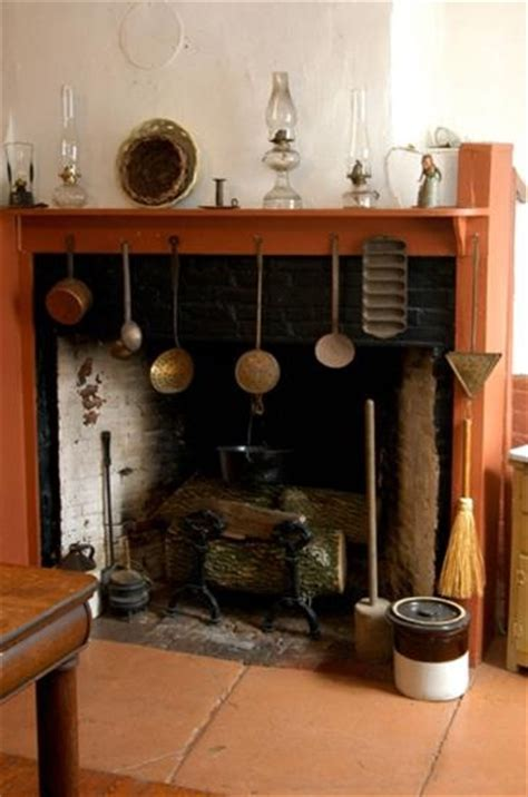 colonial fireplace with cooking tools colonial kitchen