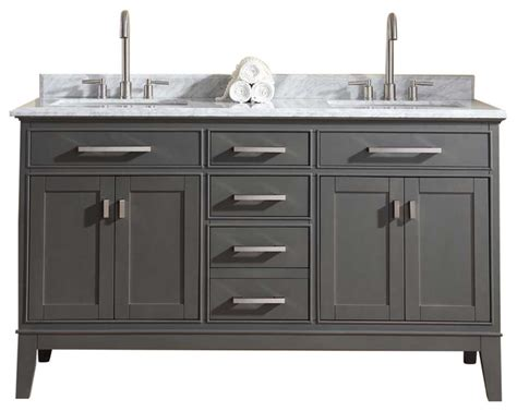 "Danny Double Vanity Set, 60""   Transitional   Bathroom"