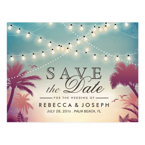 wedding save the date text exles palm string lights wedding save the date postcard zazzle
