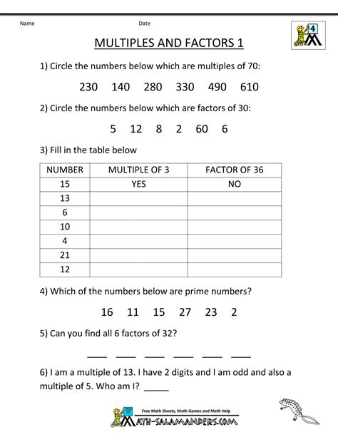 Factors Worksheets by 4th Grade Math Practice Multiples Factors And Inequalities